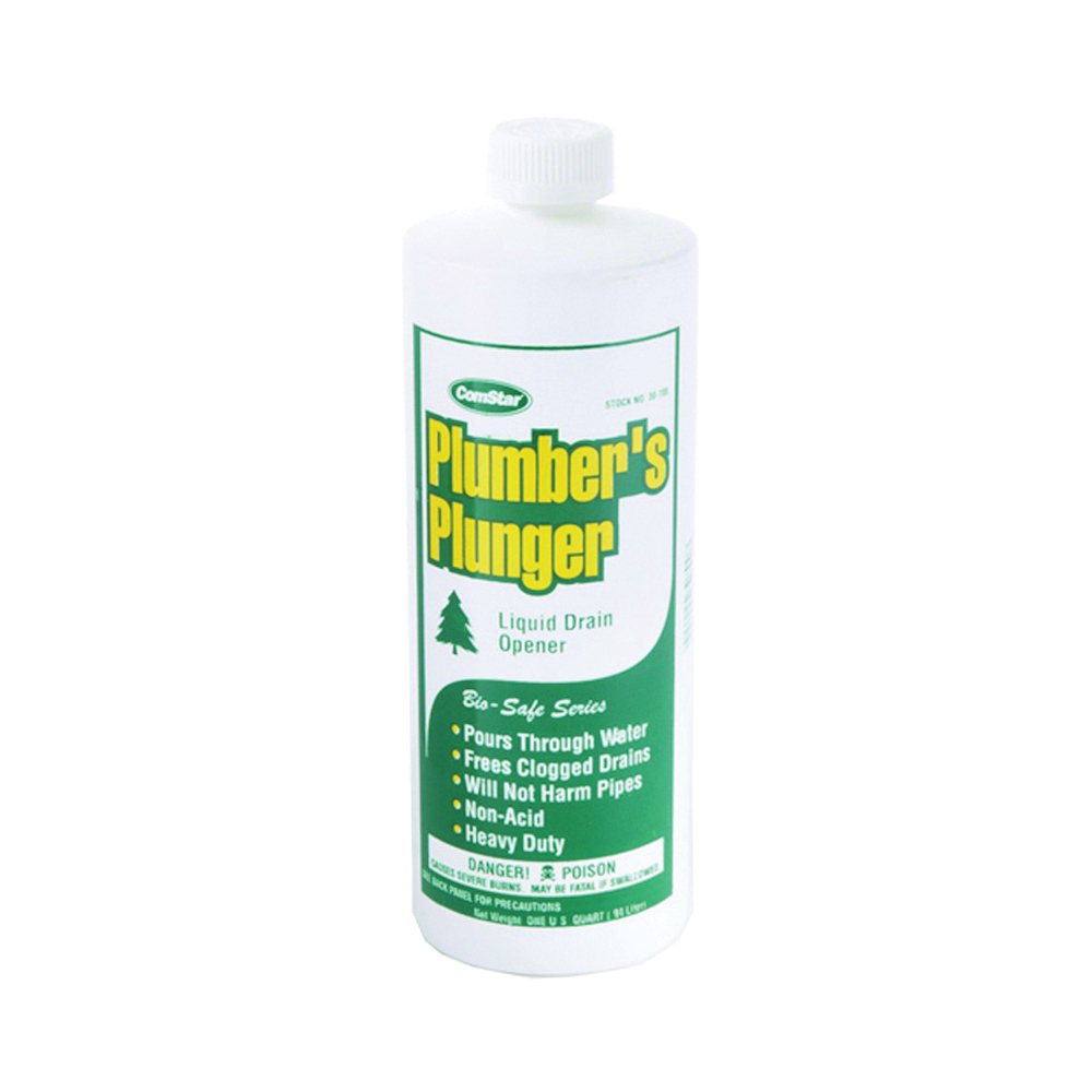 Picture of ComStar Plumber's Plunger 30-700 Drain Opener, Liquid, Clear, Sharp, 1 qt Package, Bottle