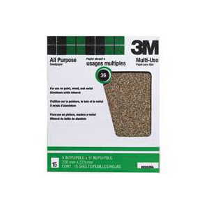 Picture of 3M 88593NA-15 Sanding Sheet, 11 in L, 9 in W, Extra Coarse, 36 Grit, Aluminum Oxide Abrasive, Paper Backing