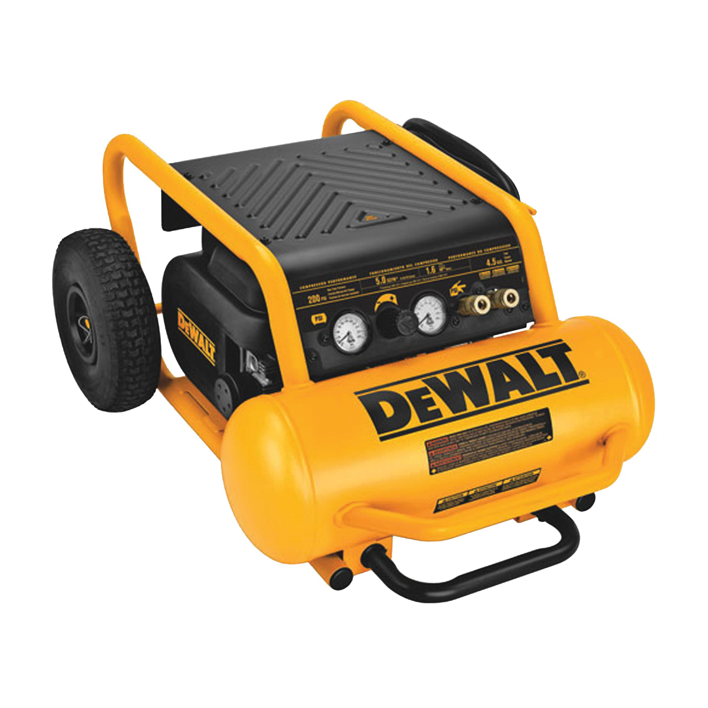 Picture of DeWALT D55146 Portable Air Compressor, 4.5 gal Tank, 1.6 hp, 120 V, 200 psi Pressure, 6.5 cfm Air
