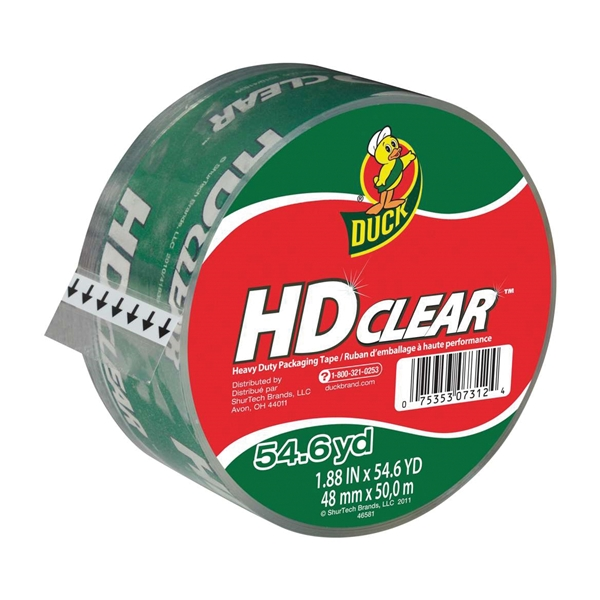 Picture of Duck HD Clear 297438 Packaging Tape, 54.6 yd L, 1.88 in W, Clear