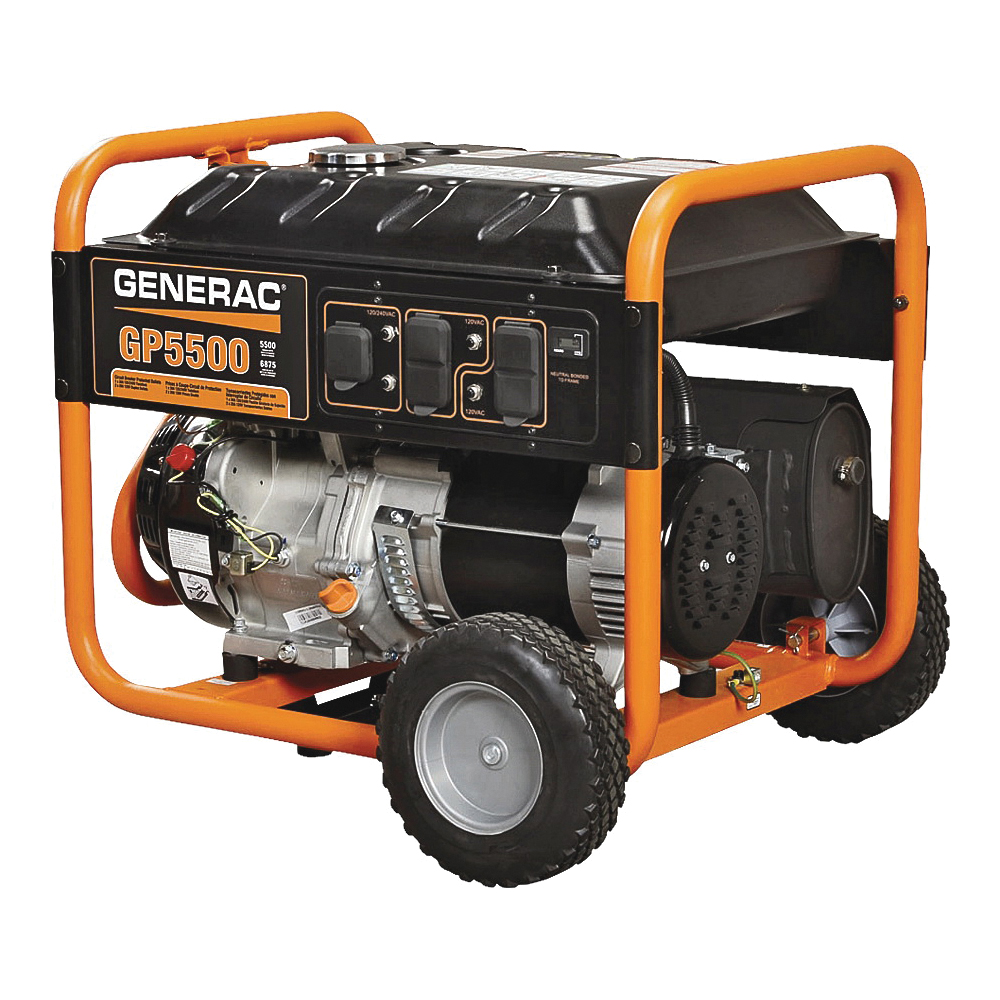 Picture of GENERAC 5939 Portable Generator, 45.8/22.9 A, 120/240 V, Gas, 6.8 gal Tank, 11 hr Run Time, Recoil Start