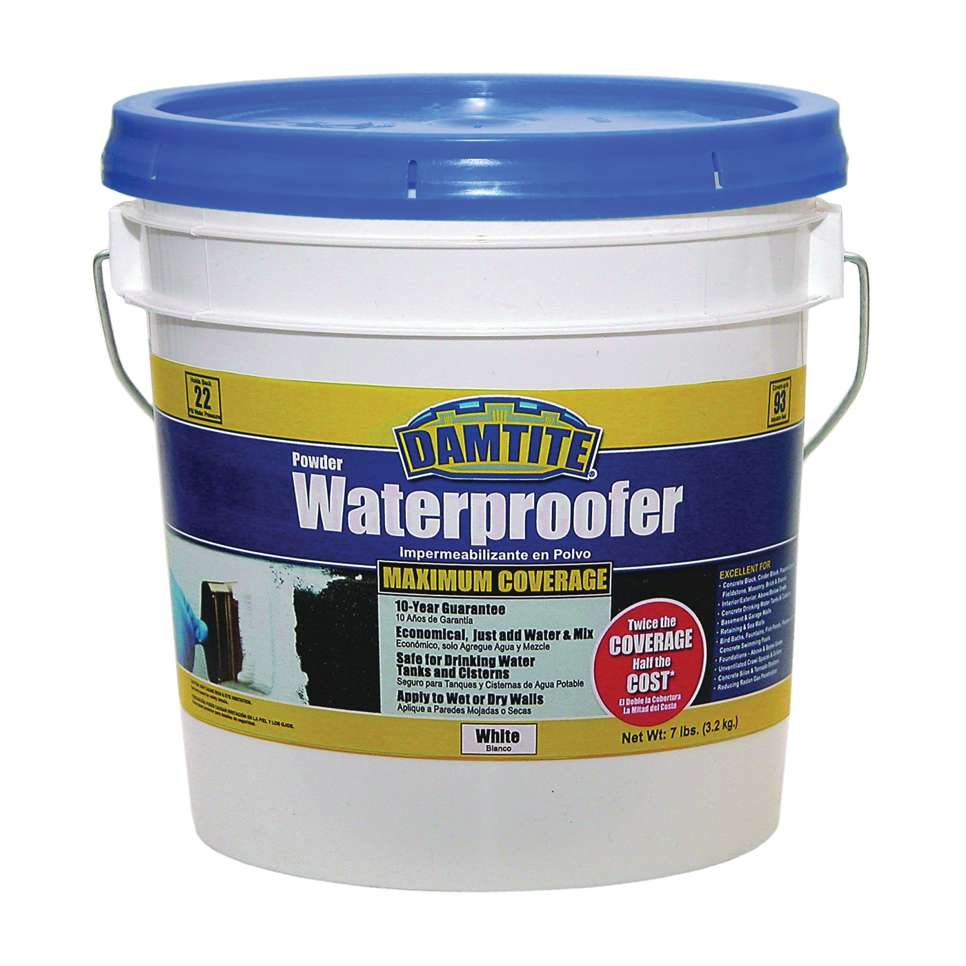 Picture of DAMTITE 01071 Powder Waterproofer, White, Powder, 7 lb Package, Pail