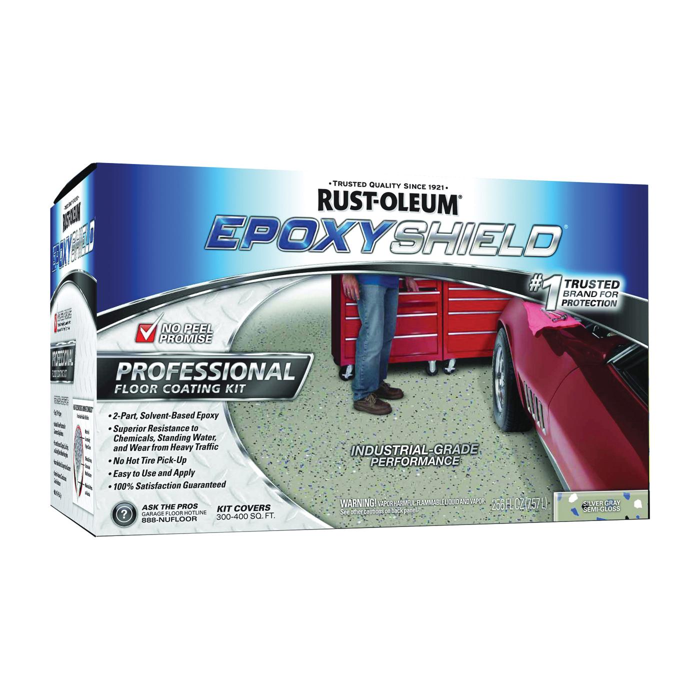 Picture of RUST-OLEUM EPOXYSHIELD 203373 Floor Coating Kit, Semi-Gloss, Gray/Silver, Liquid