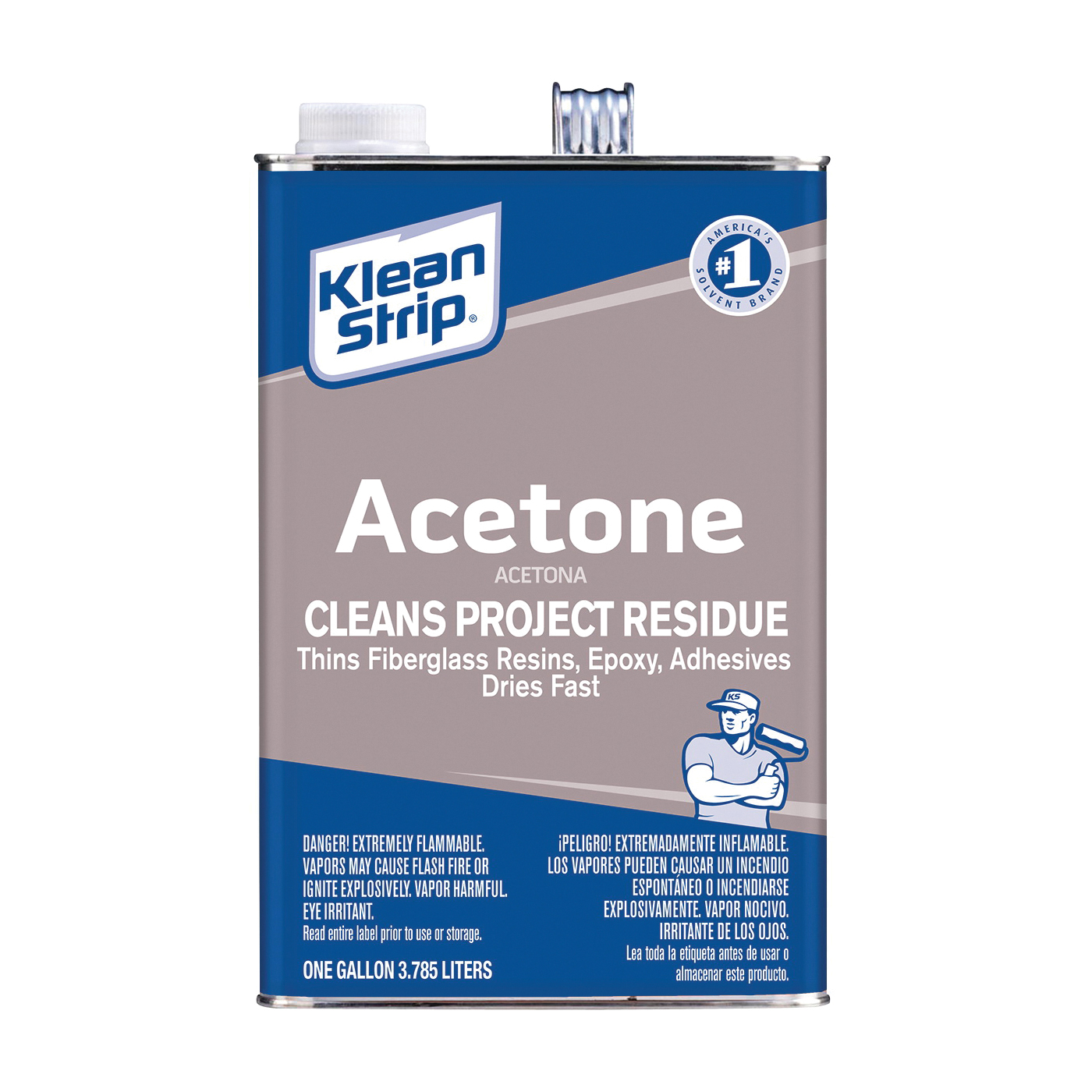 Picture of Klean Strip GAC18 Acetone Thinner, Liquid, Characteristic Ketone, Sweet Pungent, Clear, 1 gal, Can