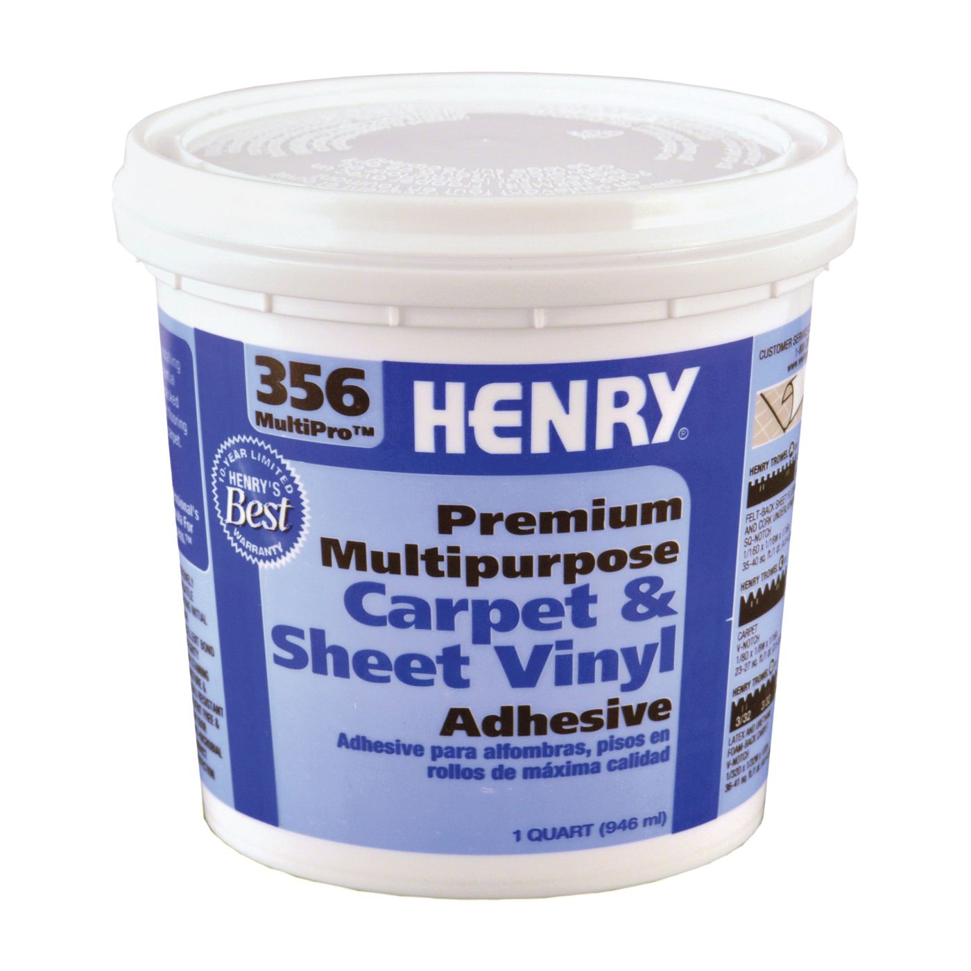 Picture of HENRY 356C MultiPro 356-030 Carpet and Sheet Adhesive, Paste, Mild, Pale Yellow, 1 qt Package, Pail