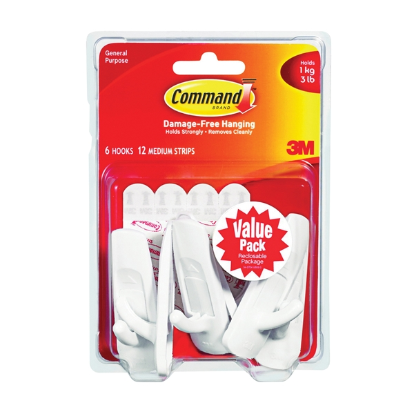 Picture of Command 17001-VP-6PK Utility Hook, 7/8 in Opening, 3 lb, 6-Hook, Plastic, White, 18, Visual Pack