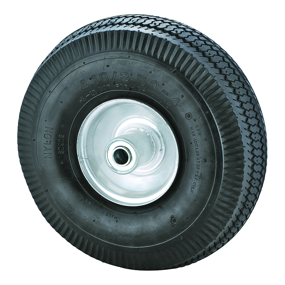 Picture of ProSource CW/GS-3339 Hand Truck Wheel, Tube, 10 x 3-1/2 in Tire, 1-1/2 in Dia Hub, Rubber, 1, Round Color Card