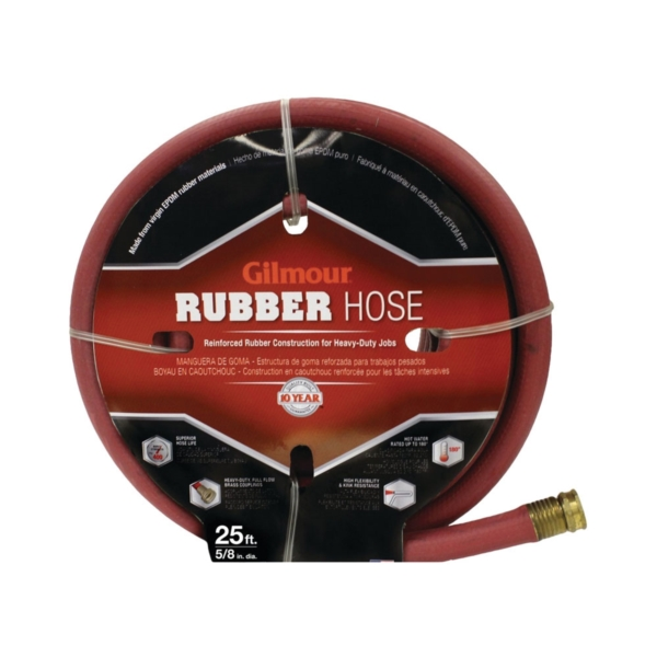 Picture of Gilmour 18-58025 Garden Hose, 25 ft L, Rubber, Red
