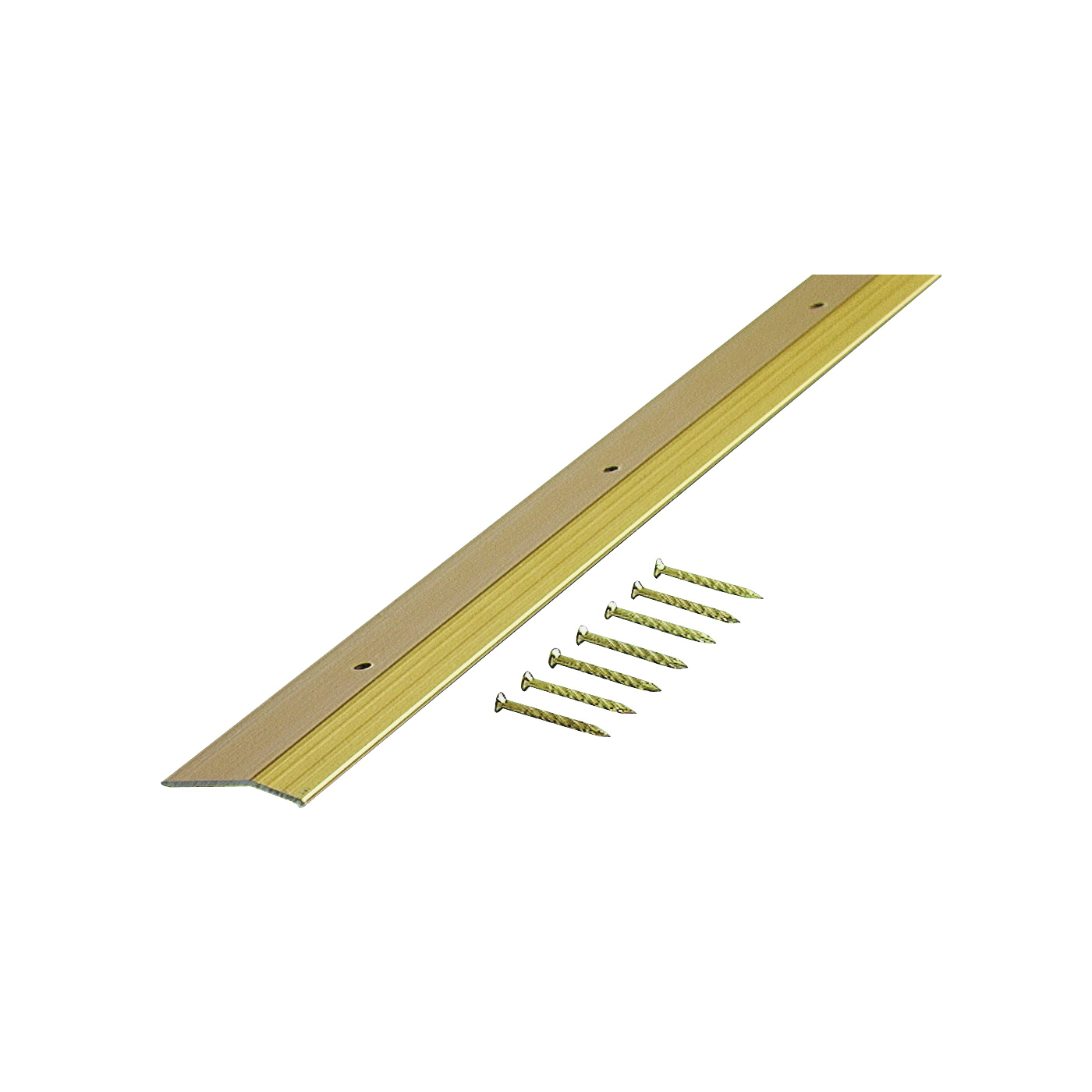 Picture of M-D 72074 Carpet Trim, 36 in L, 1.38 in W, Smooth Surface, Aluminum, Satin Brass