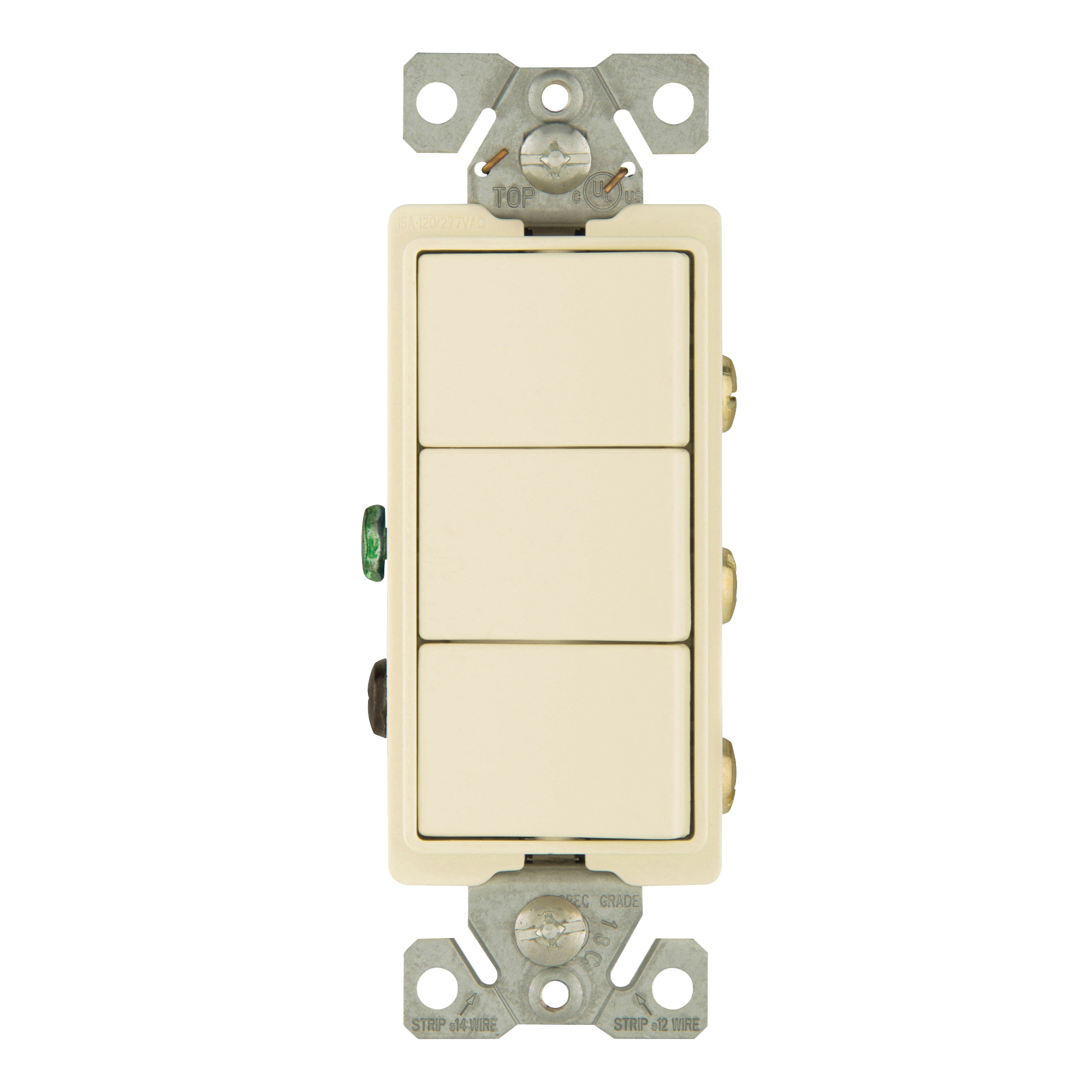 Picture of Eaton Cooper Wiring 7729LA-SP Combination Switch, 1-Pole, 15 A, 120/277 V, Light Almond
