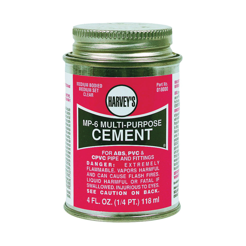 Picture of HARVEY 018010-24 Solvent Cement, 8 oz, Can, Liquid, Milky Clear