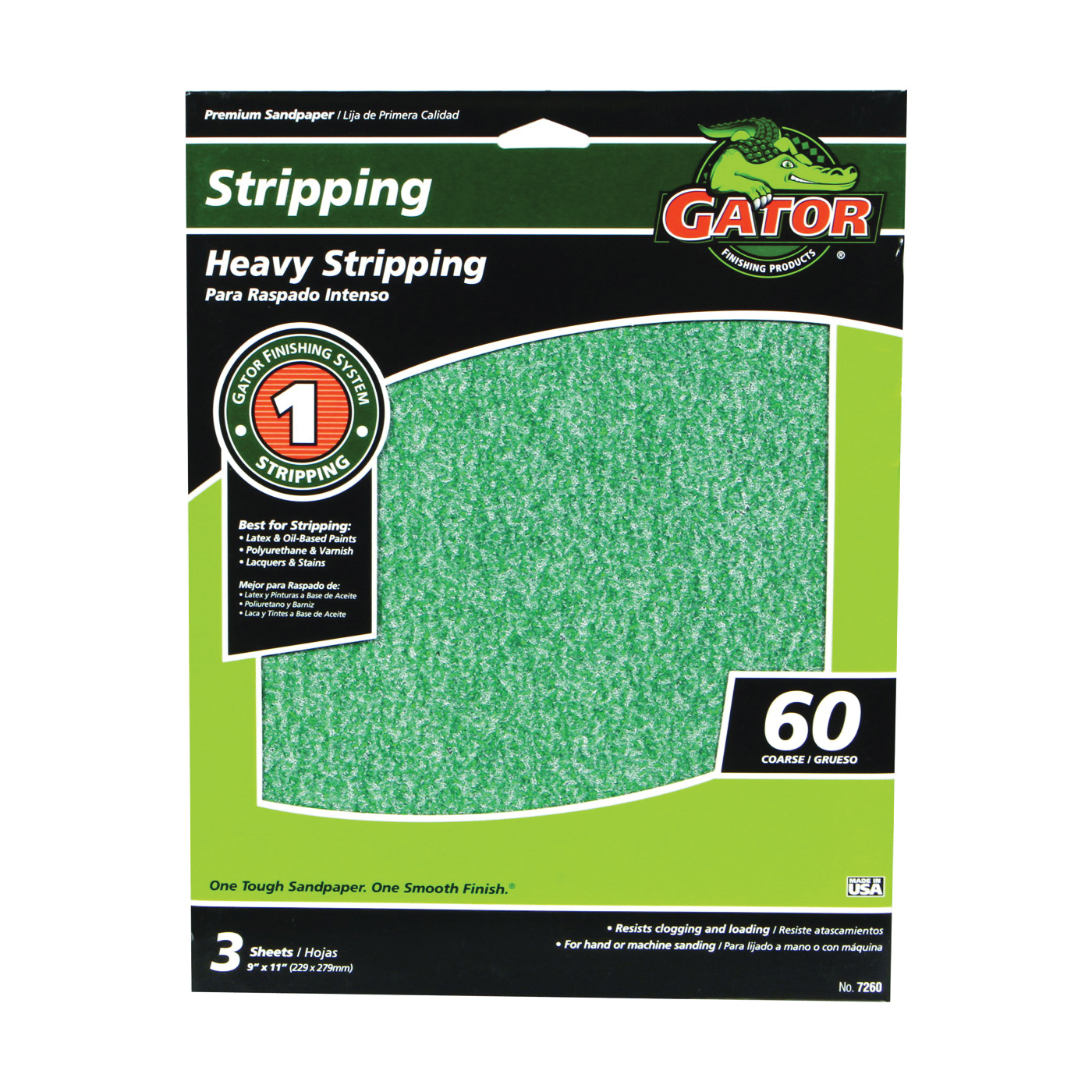 Picture of Gator 7260 Sanding Sheet, 11 in L, 9 in W, 60 Grit, Coarse, Aluminum Oxide Abrasive