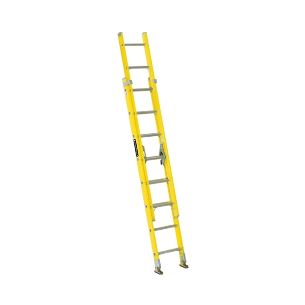 Picture of Louisville FE1716 Extension Ladder, 193 in H Reach, 250 lb, 1-1/2 in D Step, Fiberglass, Yellow