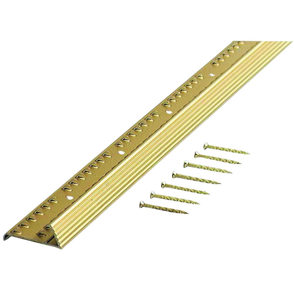 Picture of M-D 79137 Fluted Carpet Gripper, 72 in L, 1-3/8 in W, Aluminum, Satin Brass