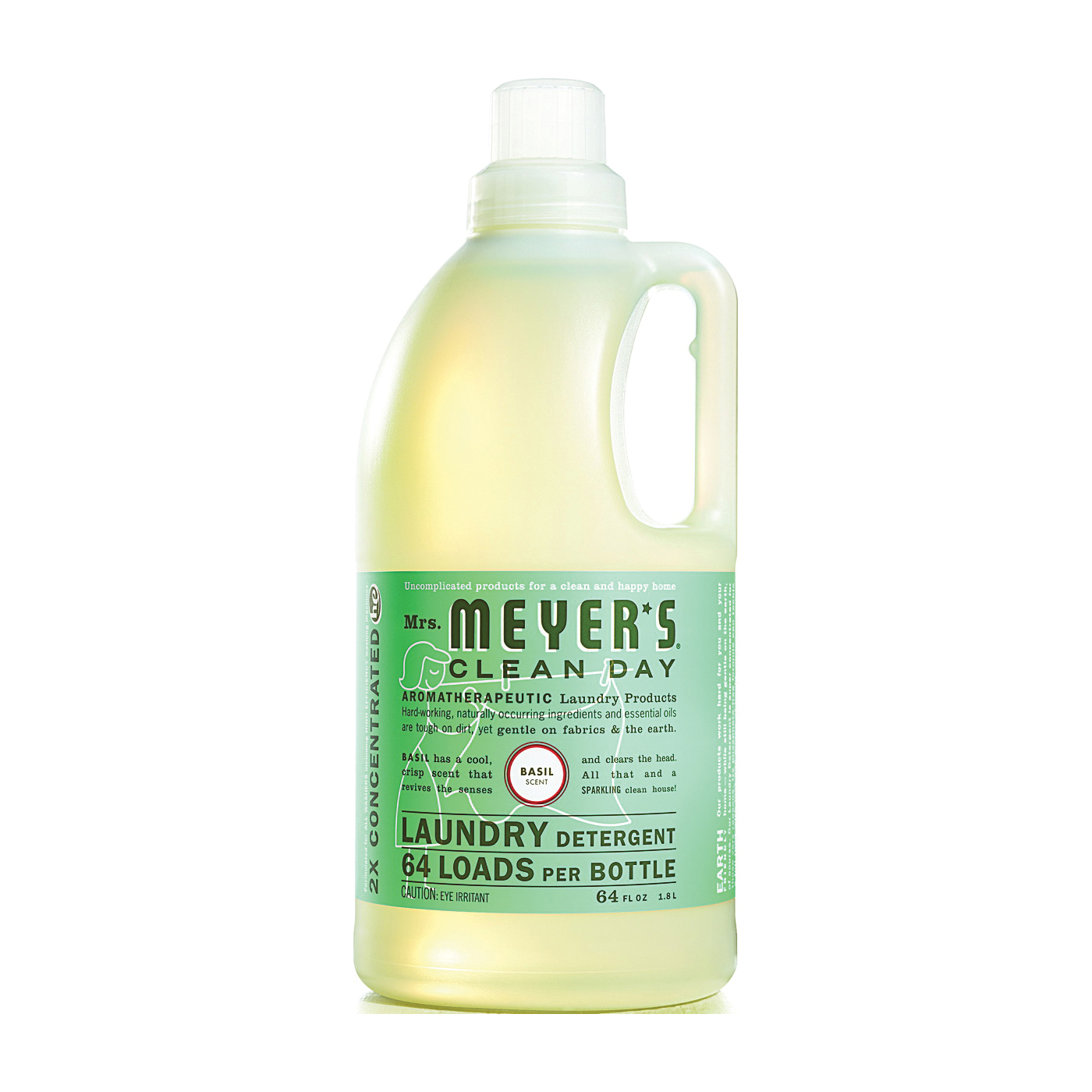 Picture of Mrs. Meyer's Clean Day 14831 Laundry Detergent, 64 oz, Bottle, Liquid, Basil