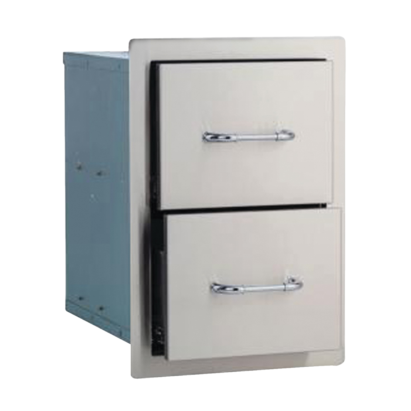Picture of BULL 56985 Double Drawer, 20-3/4 in L, 12-3/4 in W, 19-1/2 in H, 2 -Drawer, Stainless Steel