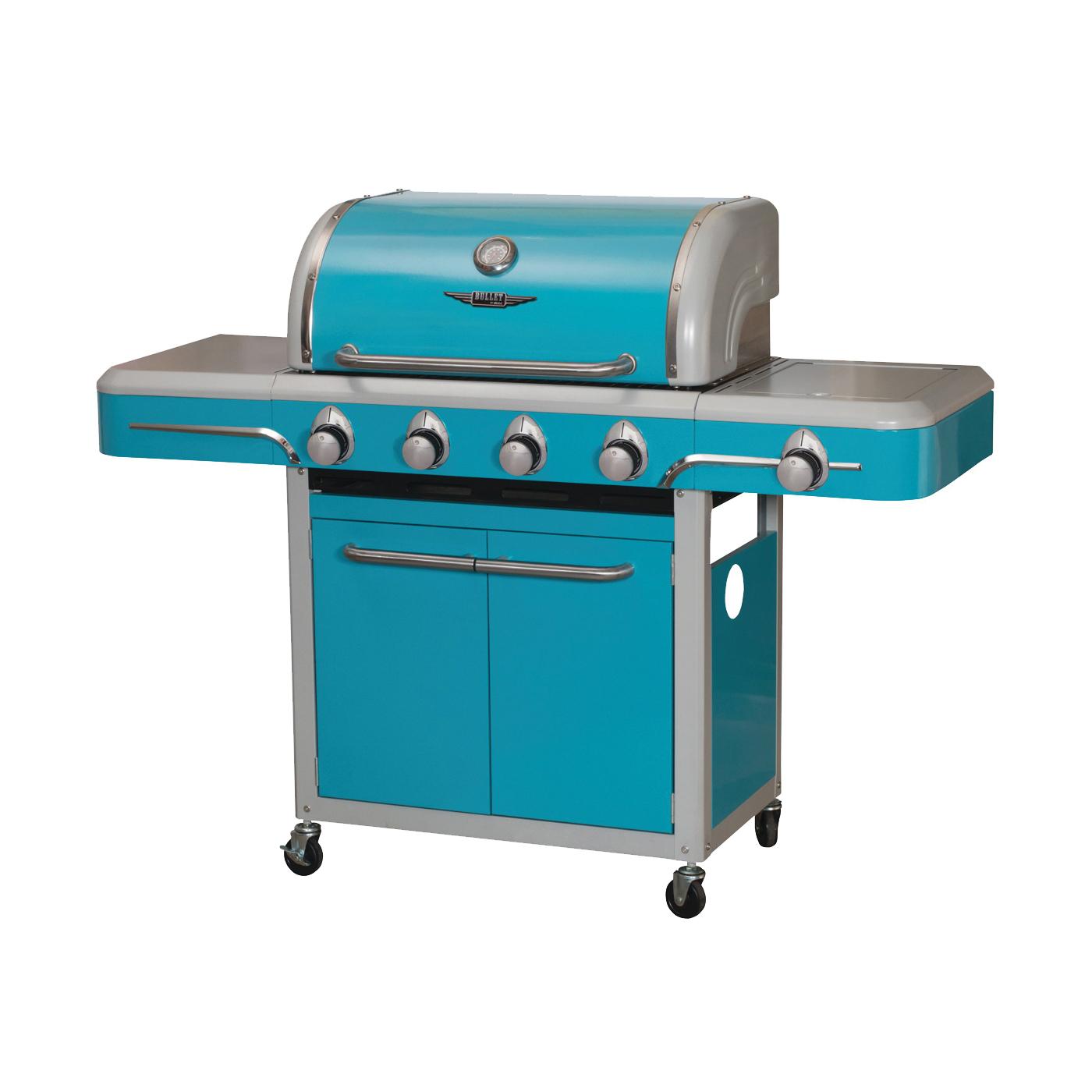 Picture of BULL 79006 Gas Grill, 12000 Btu BTU, 4 -Burner, Stainless Steel Body, Vintage Blue