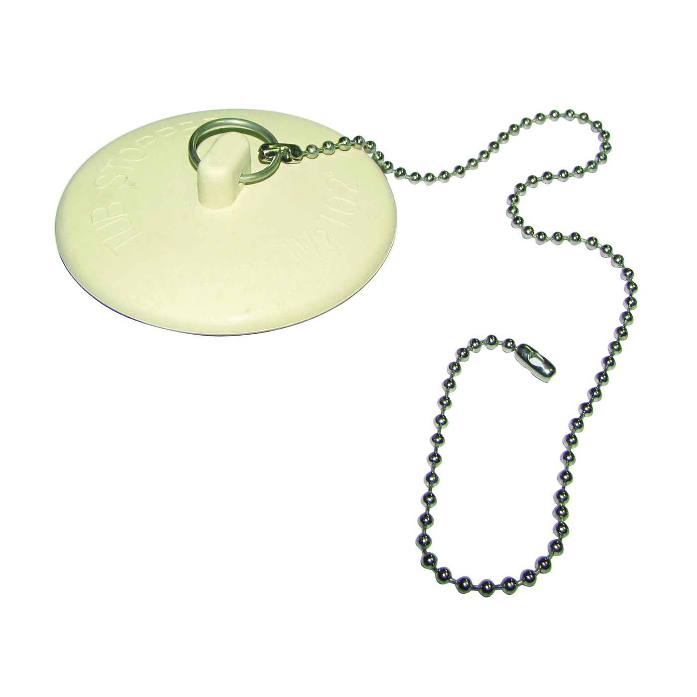 Picture of Plumb Pak PP820-43 Tub Stopper and Chain, Rubber, White, For: Laundry and Bathtubs with 1-1/2 to 2 in Drain