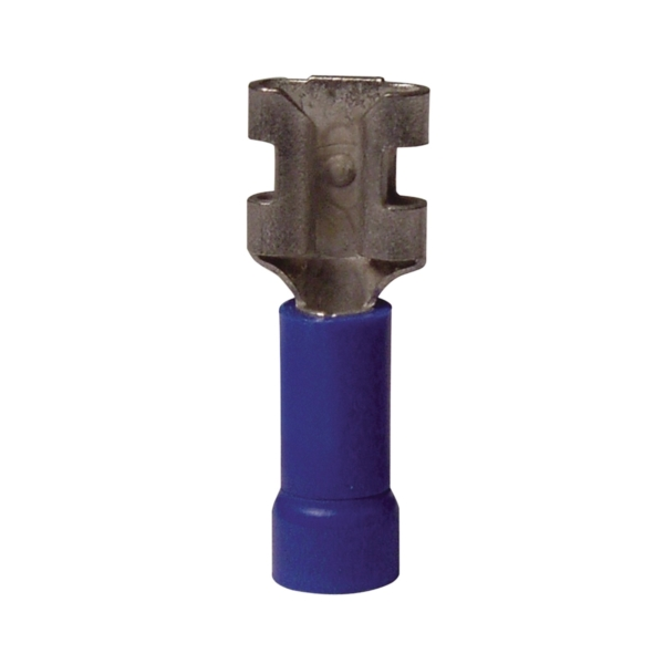 Picture of GB 20-143F Disconnect Terminal, 600 V, 16 to 14 AWG Wire, 1/4 in Stud, Vinyl Insulation, Blue, 20/Clam