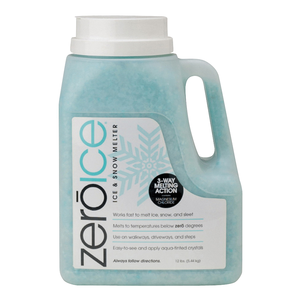Picture of HJ Zero Ice 9594 Ice and Snow Melter, Aqua Tinted Crystal, Granular, White, 12 lb Package, Jug