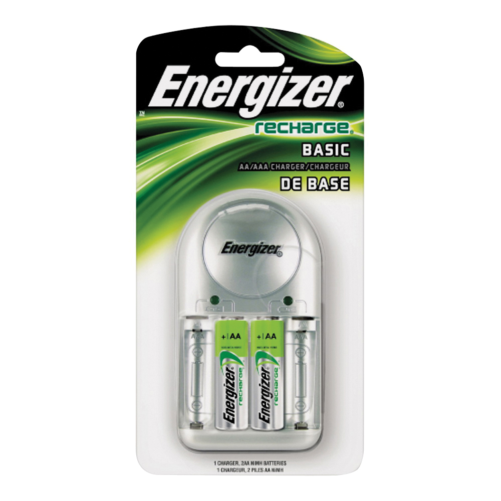 Picture of Energizer CHVCWB2 Battery Charger, AA, AAA Battery, Nickel-Metal Hydride Battery, 4-Battery, Fold-Out Plug, Silver
