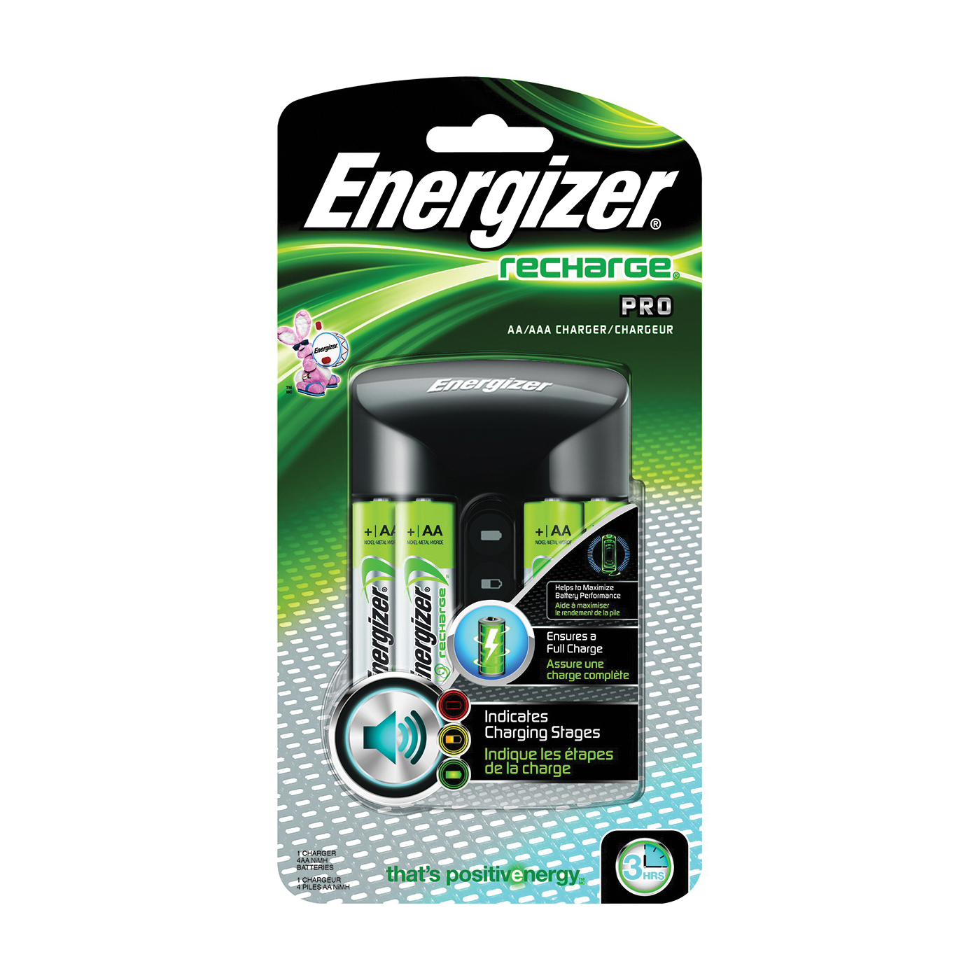 Picture of Energizer CHPROWB4 Battery Charger, AA, AAA Battery, Nickel-Metal Hydride Battery, 4-Battery, Black