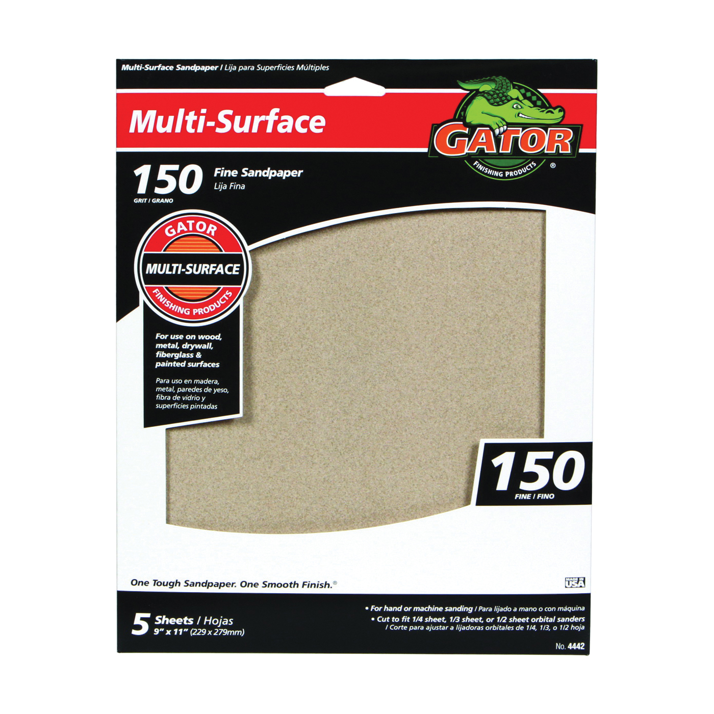Picture of Gator 4442 Sanding Sheet, 11 in L, 9 in W, 150 Grit, Fine, Aluminum Oxide Abrasive