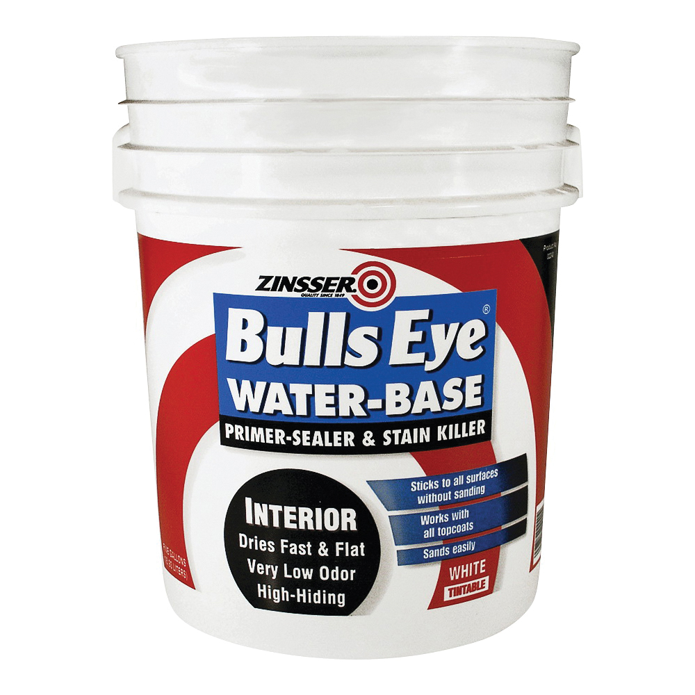 Picture of ZINSSER Bulls Eye 02240 Primer and Sealer, Flat, White, 5 gal, Can