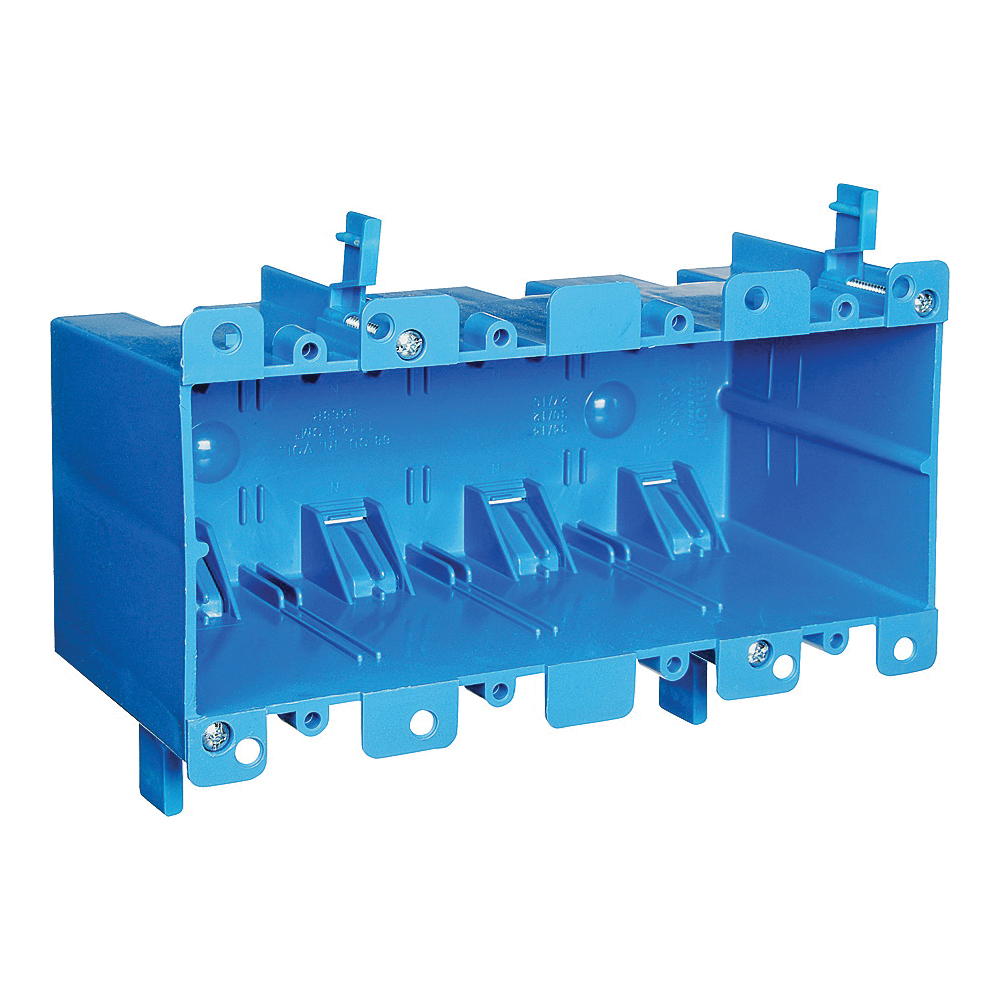 Picture of Carlon B468R Outlet Box, 4-Gang, PVC, Blue, Clamp Mounting