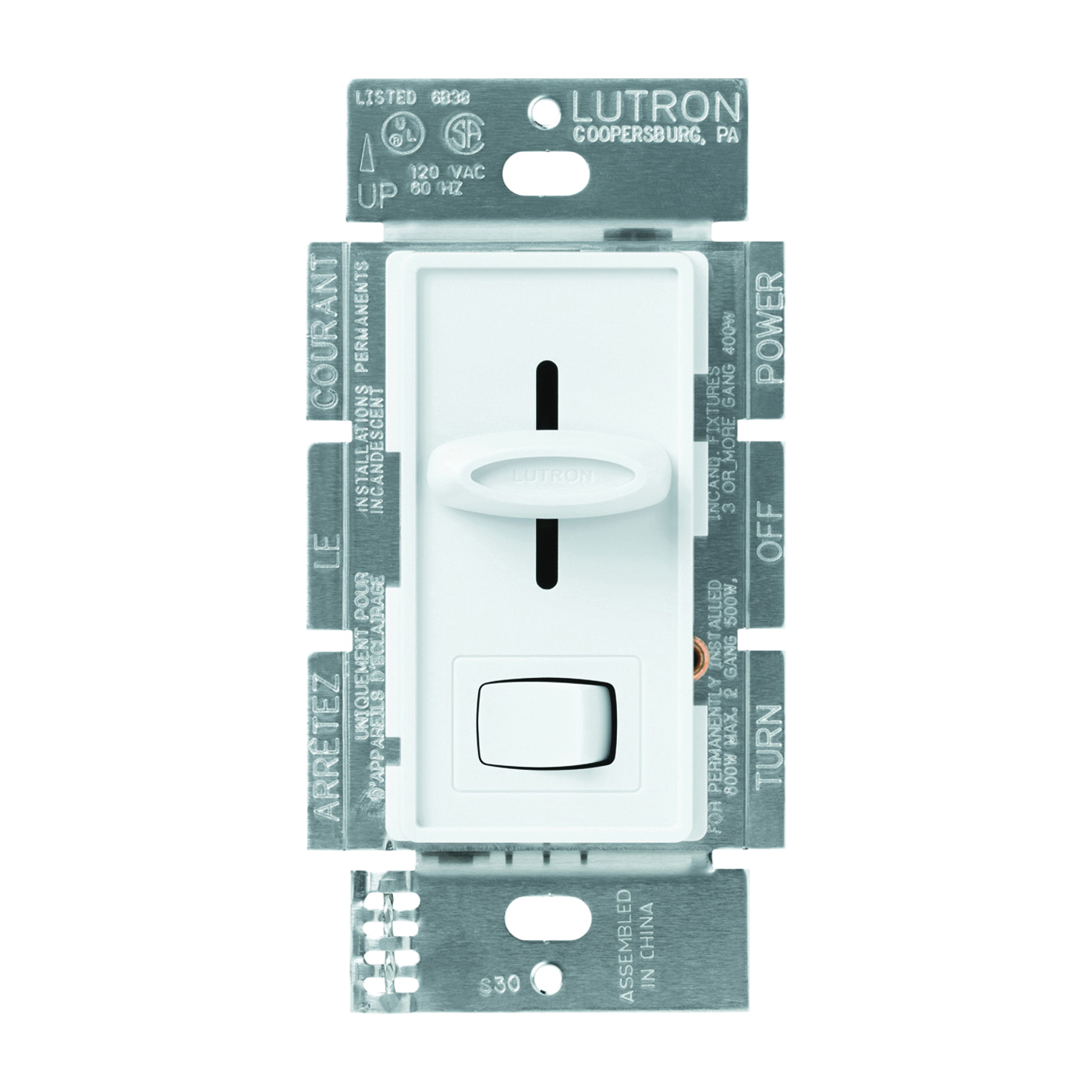 Picture of Lutron Skylark S-603PGH-WH Dimmer, 5 A, 120 V, 600 W, Halogen, Incandescent Lamp, 3-Way, White
