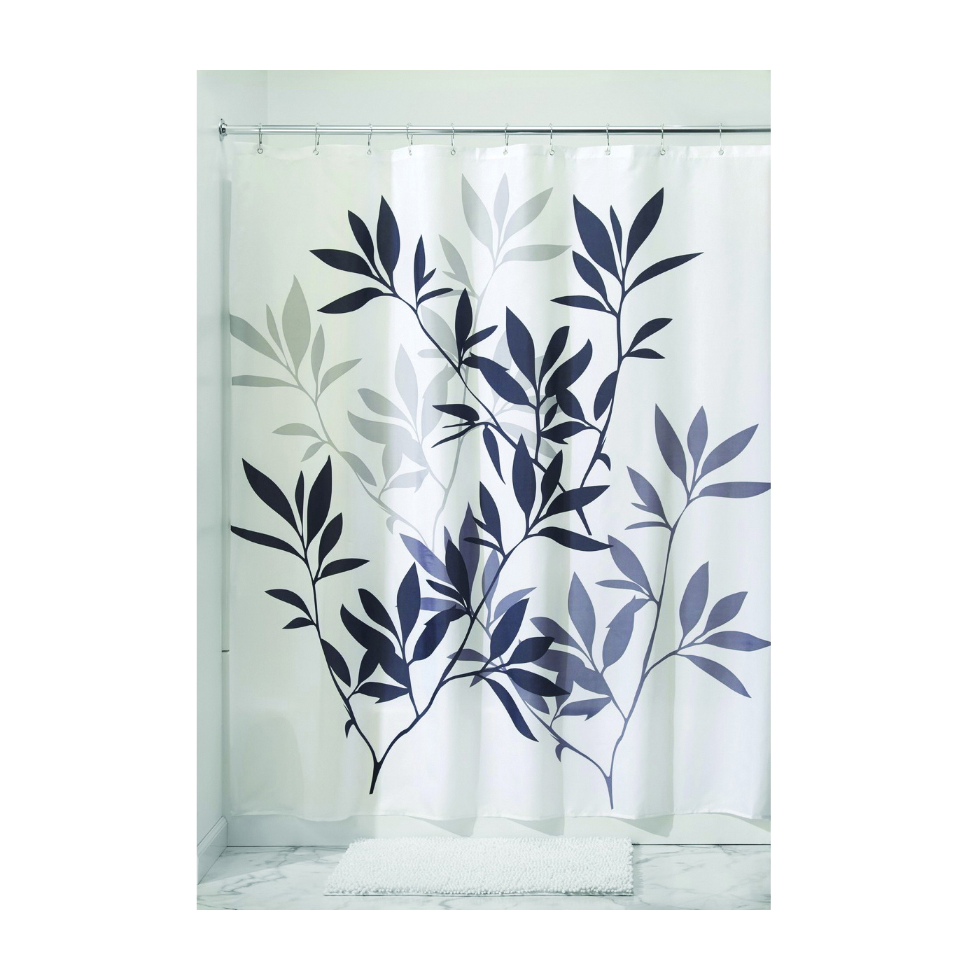 Picture of iDESIGN 35620 Shower Curtain, 72 in L, 72 in W, Polyester, Gray/Neutral Black