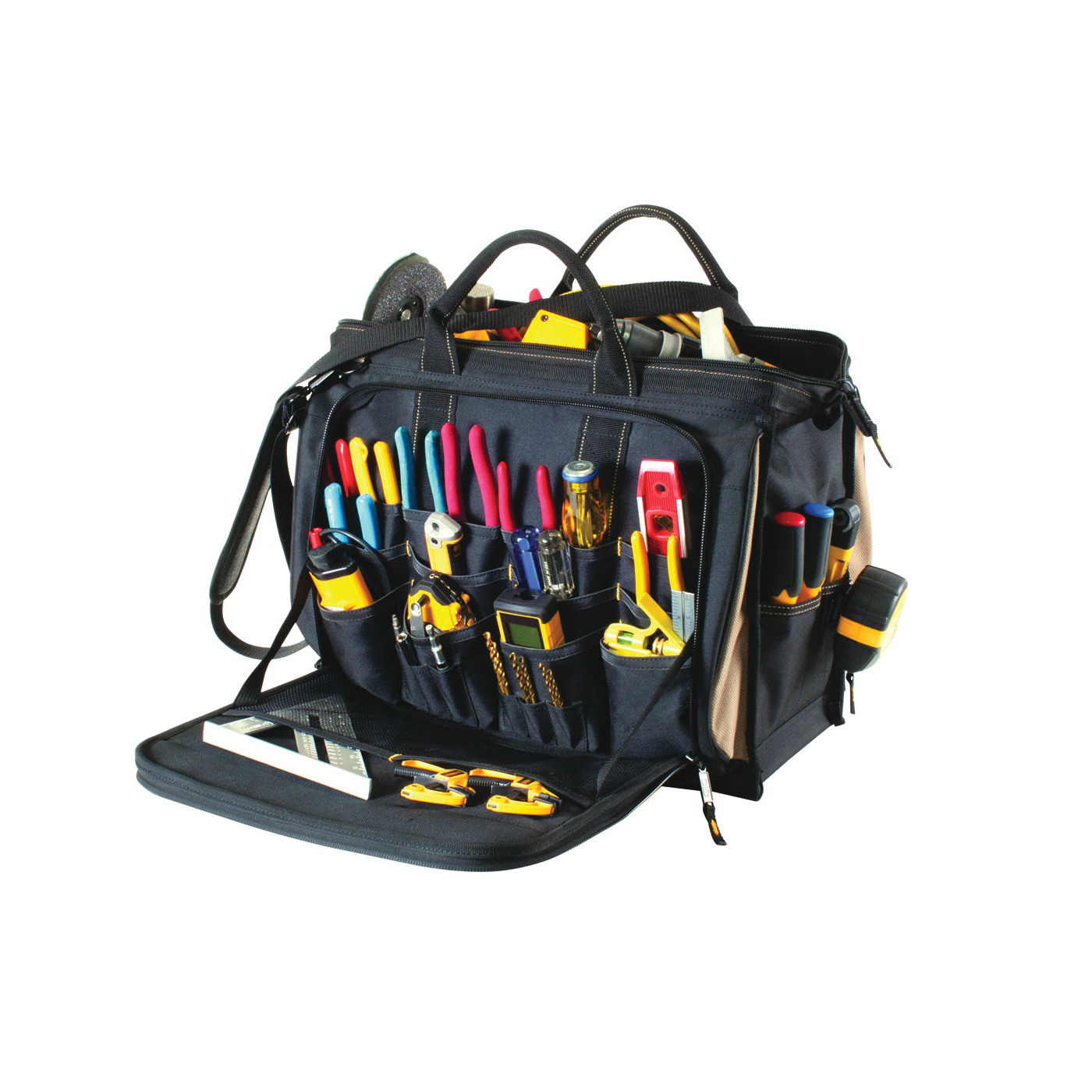 Picture of CLC Tool Works 1539 Multi-Compartment Tool Carrier, 7 in W, 14 in D, 18 in H, 58 -Pocket, Polyester, Black/Brown