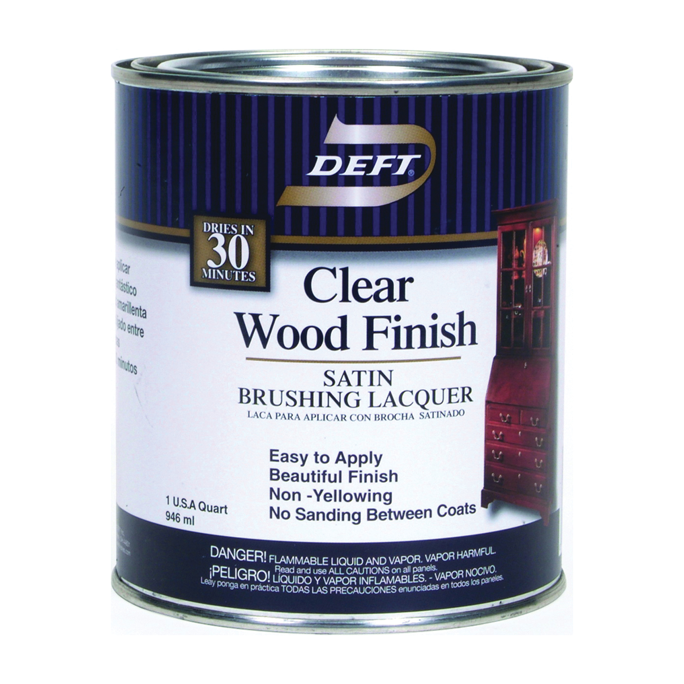 Picture of DEFT 017-04 Brushing Lacquer, Liquid, Clear, 1 qt, Can
