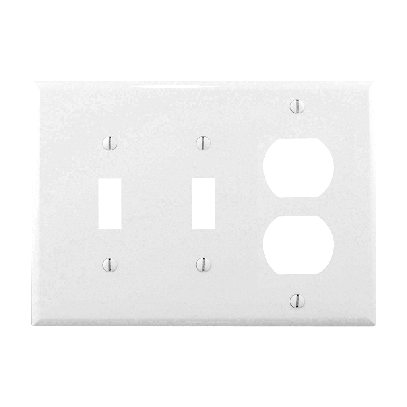 Picture of Eaton Wiring Devices PJ28W Wallplate, 4-7/8 in L, 6-3/4 in W, 3-Gang, Polycarbonate, White, High-Gloss
