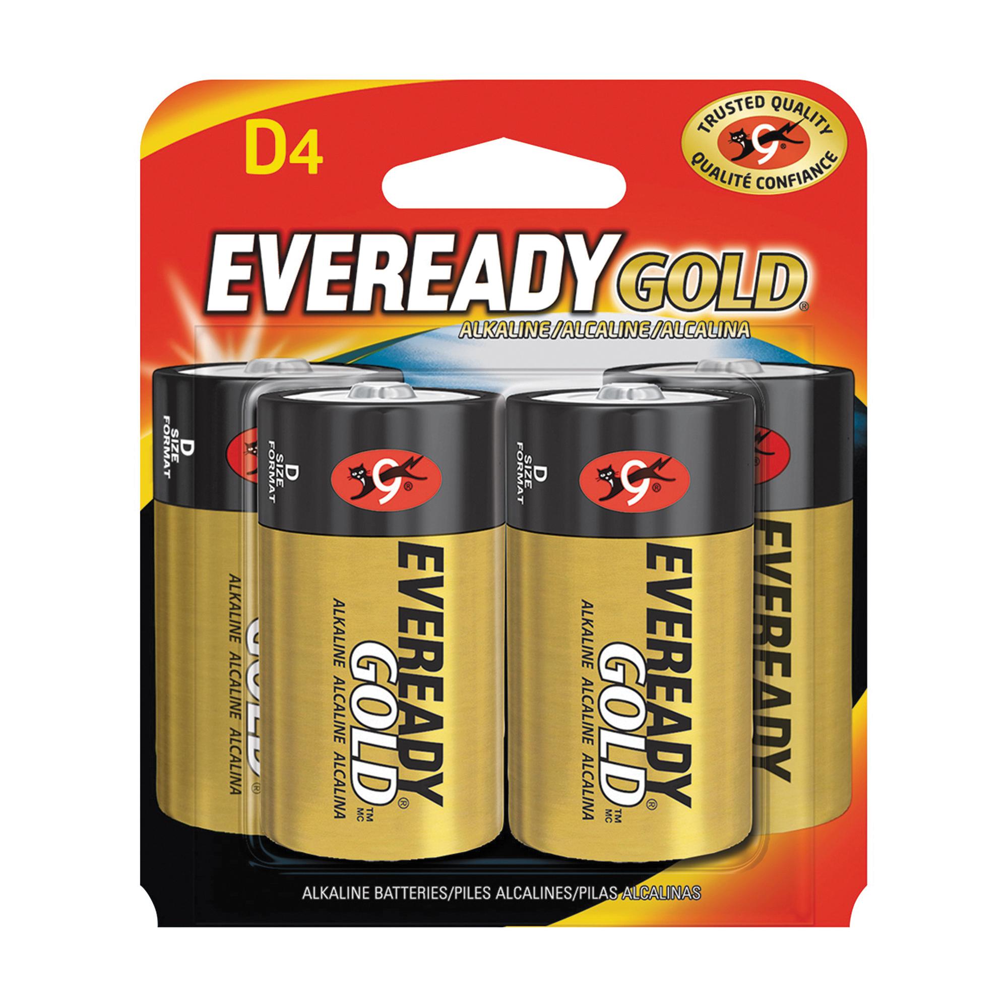 Picture of Energizer A95BP-4 Alkaline Battery, 1.5 V Battery, 19.5 Ah, D Battery, Zinc, Manganese Dioxide