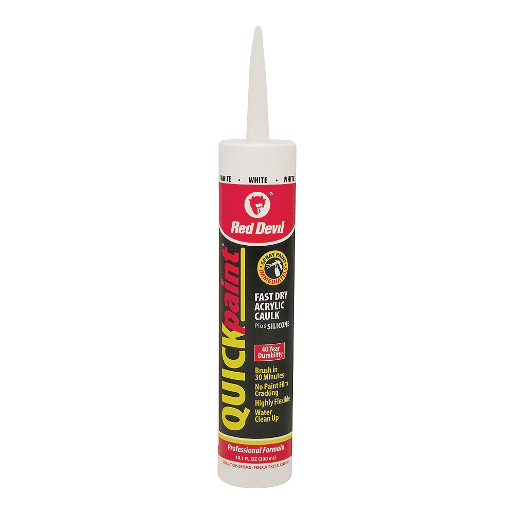 Picture of Red Devil Quick Point 0946 Fast Dry Acrylic Caulk, White, 40 to 90 deg F, 10.1 fl-oz Package, Cartridge