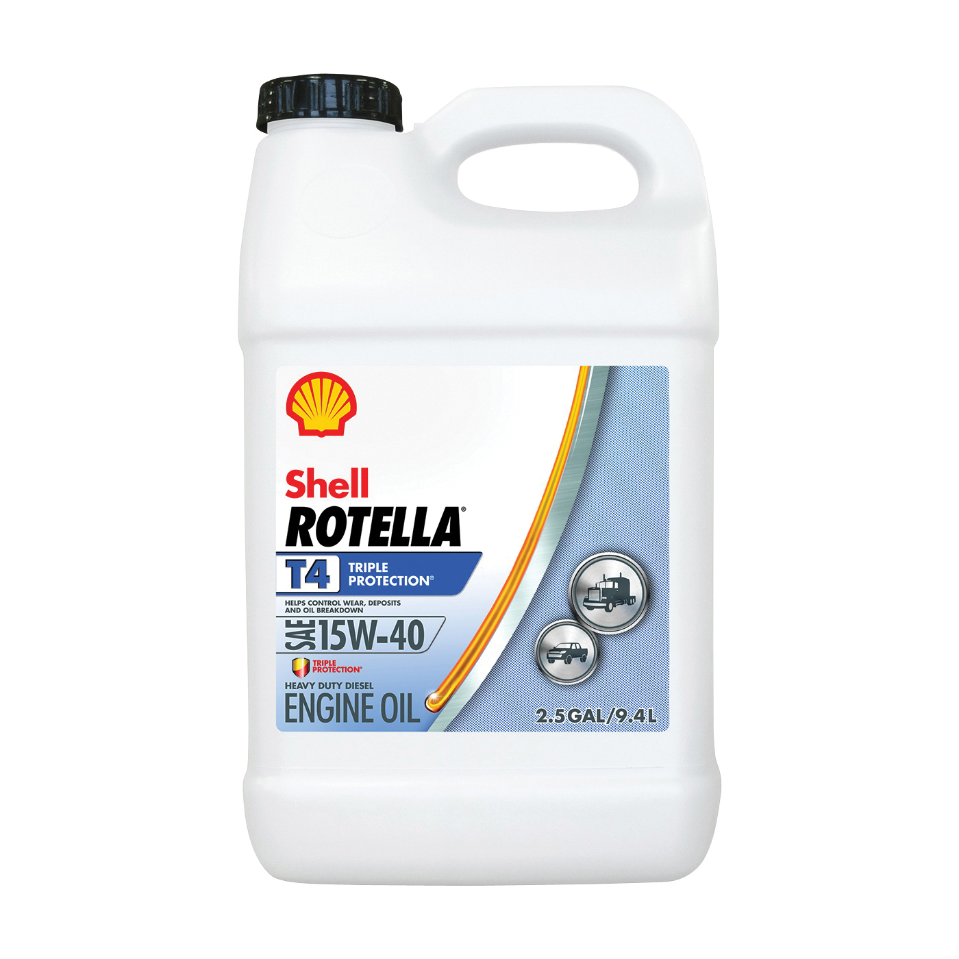 Picture of Shell Rotella T4 Series 550045127 Engine Oil, 15W-40, 2.5 gal Package, Jug