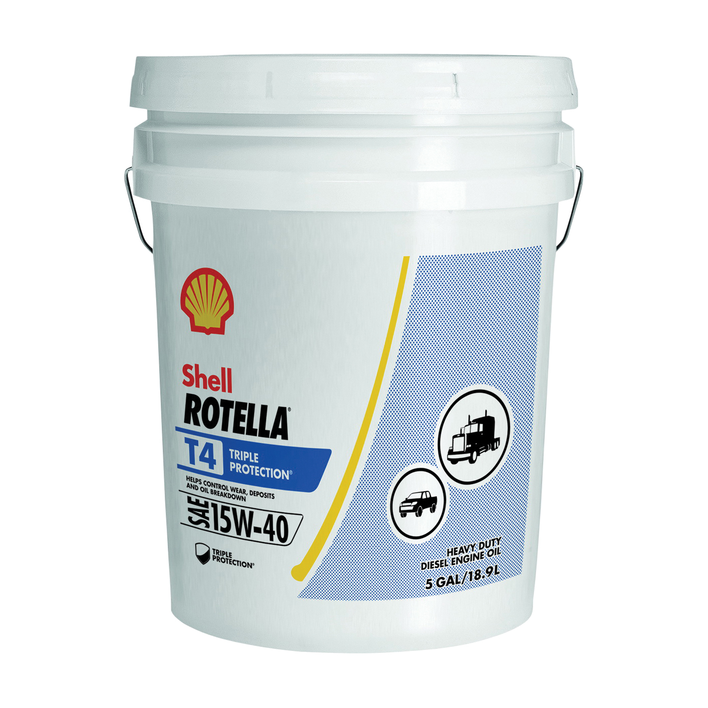 Picture of Shell Rotella T4 Series 550045128 Engine Oil, 15W-40, 5 gal Package, Pail