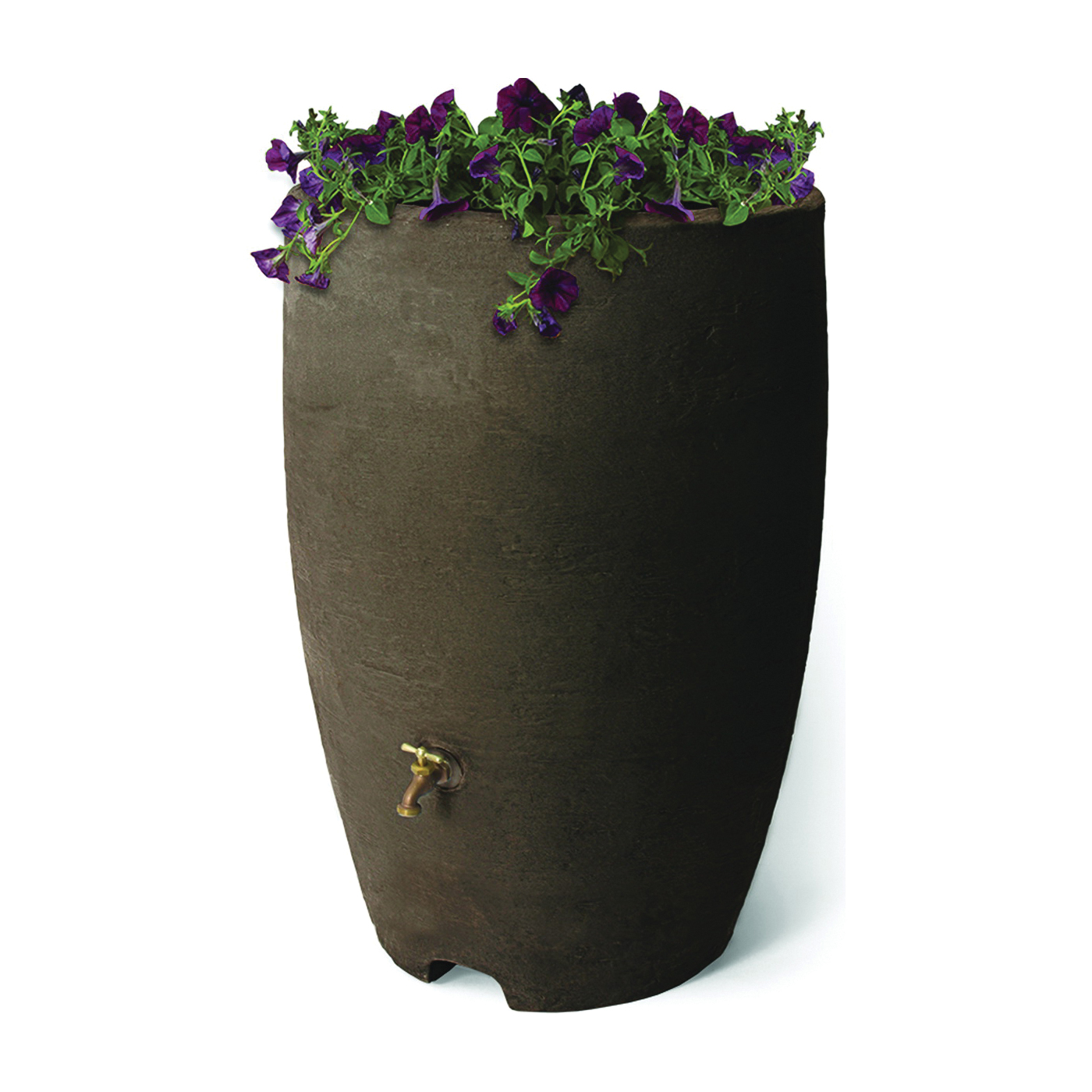 Picture of Algreen 86312 Rain Barrel, 50 gal Capacity, Brass, Brownstone