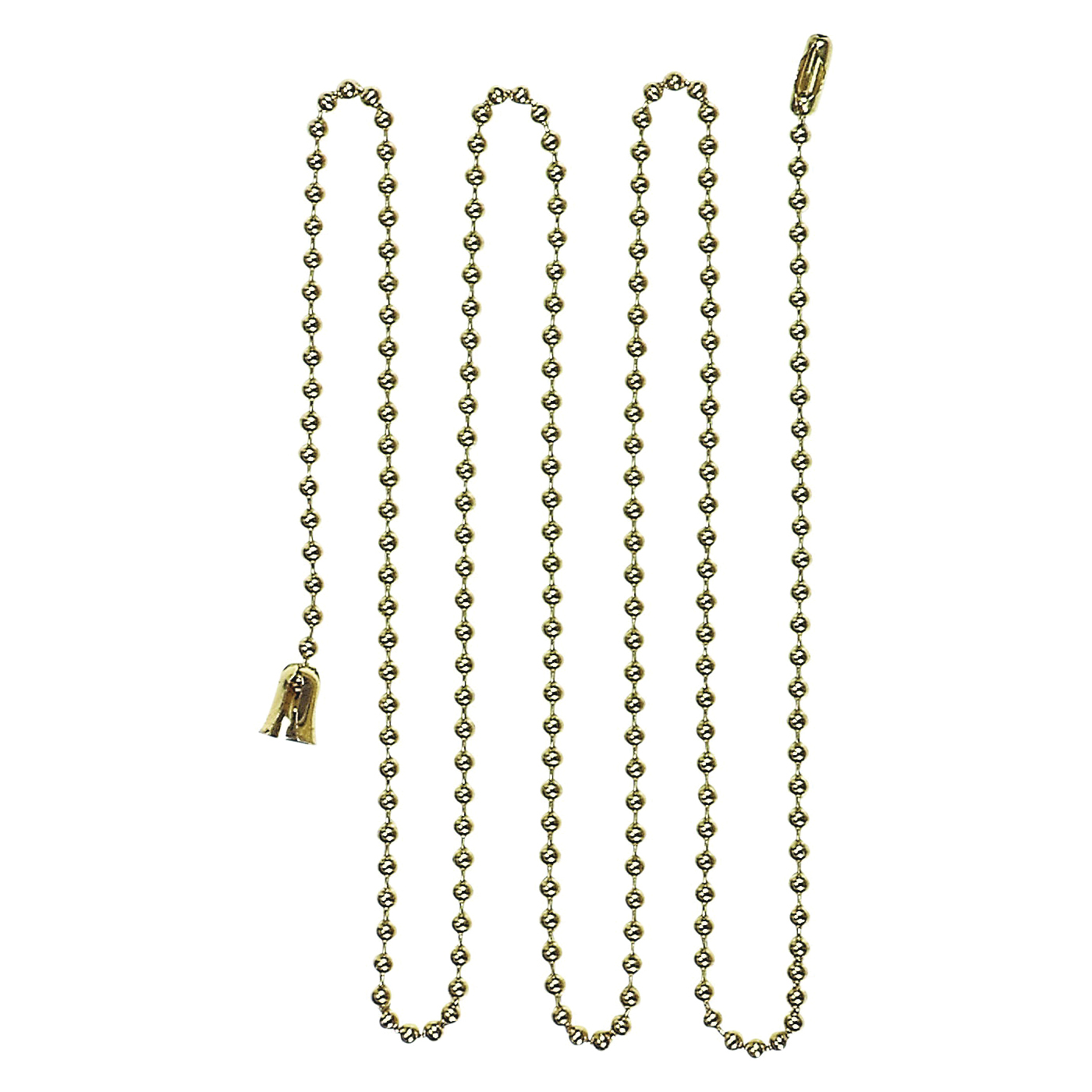 Picture of Eaton Cooper Wiring BP331BB Ball Chain with End Bell and Connector, #6 Chain, 3 ft L Chain, Brass