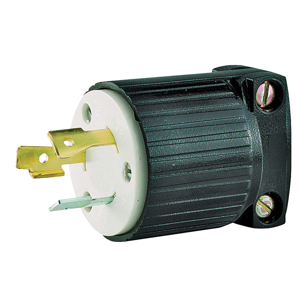 Picture of Eaton Cooper Wiring L520P Electrical Plug, 2-Pole, 20 A, 125 V, NEMA: L5-20, Black/White