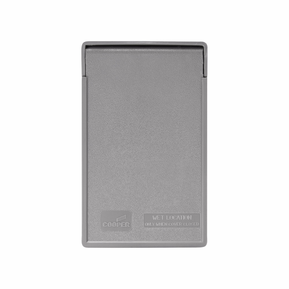 Picture of Eaton Cooper Wiring S2966 Cover, 4-3/4 in L, 2-61/64 in W, Rectangular, Thermoplastic, Gray, Electro-Plated