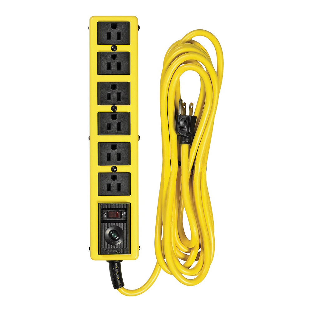 Picture of CCI 5138N Surge Protector Power Strip, 125 V, 15 A, 6-Outlet, 1050 J Energy, Black/Yellow