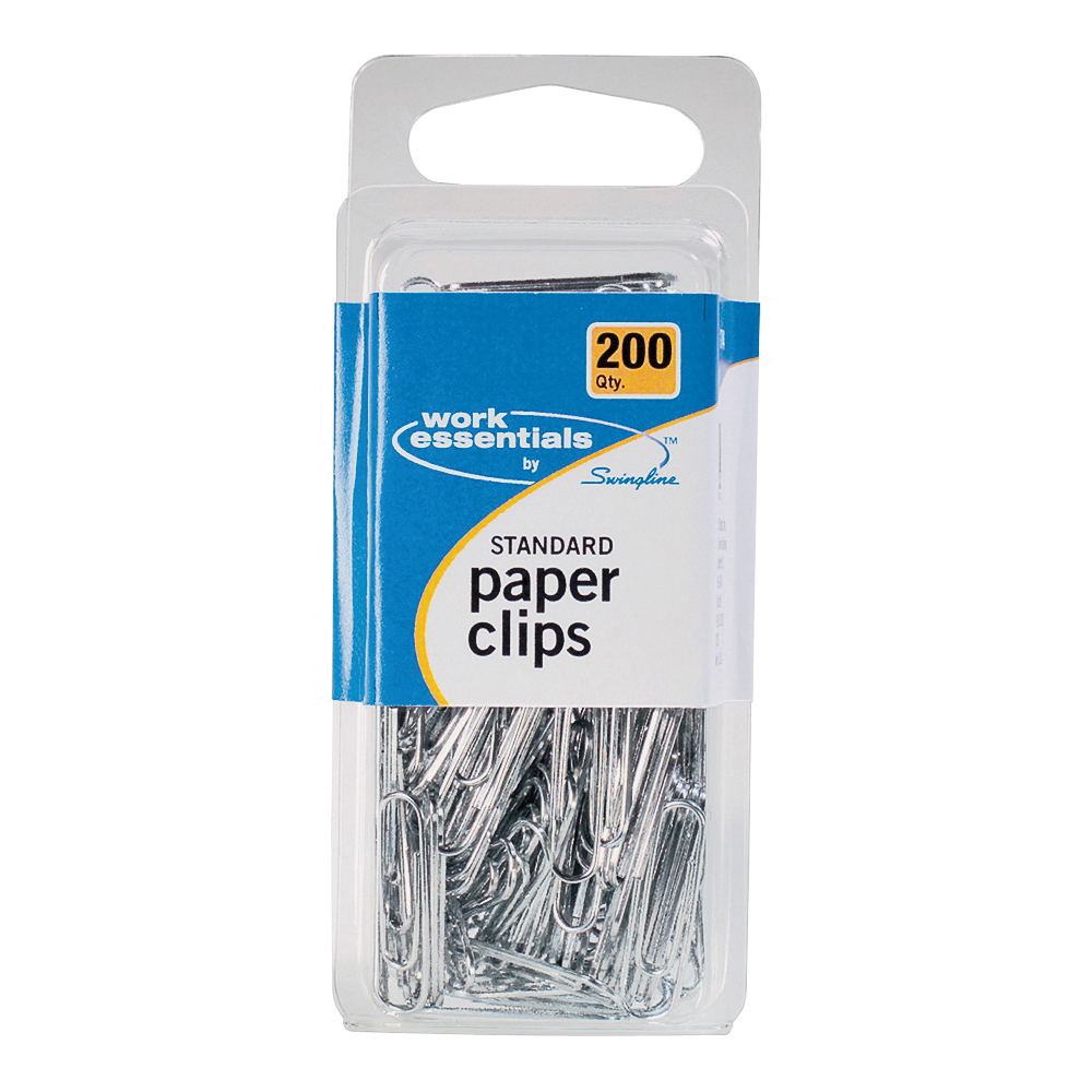 Picture of Swingline Work Essentials S7071744 Standard Paper Clips, Silver, 200