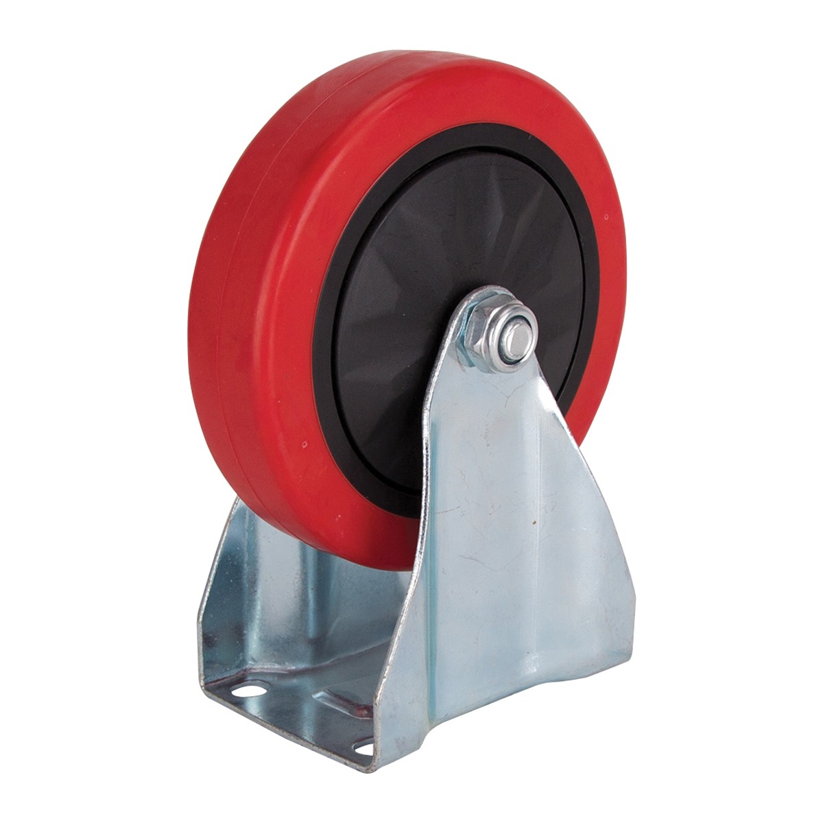 Picture of ProSource JC-382-G Rigid Caster, 5 in Dia Wheel, Polyurethane Wheel, Red, 275 lb, Steel Housing Material