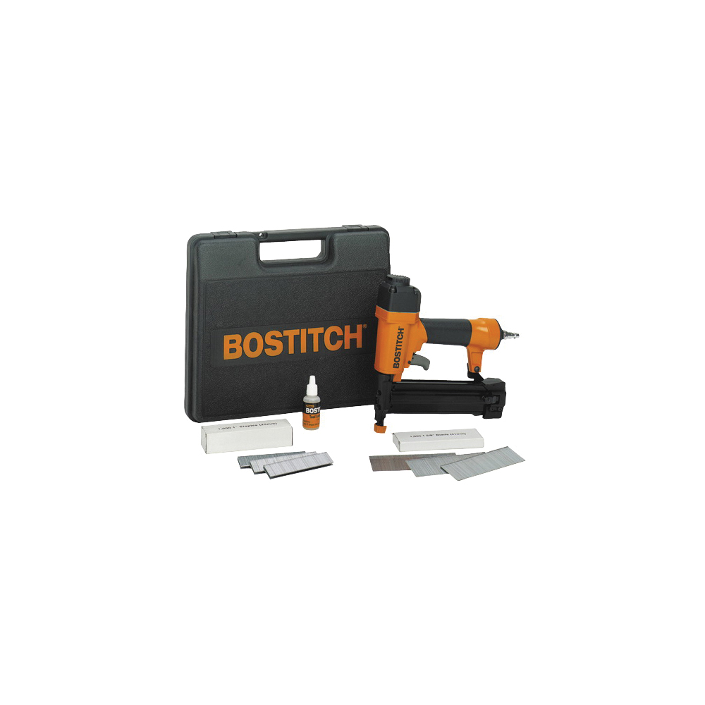 Picture of Bostitch SB-2IN1 Nailer/Stapler Combo Kit, 100 Magazine, Glue Collation, 5/8 to 1-5/8 in Fastener