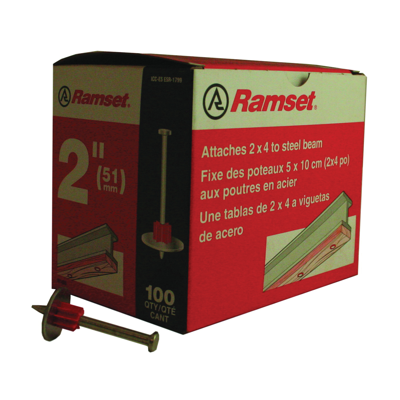 Picture of Ramset 1514SD Washered Pin, 0.145 in Dia Shank, Steel, Zinc