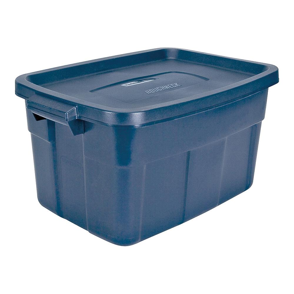 Picture of Rubbermaid Roughneck RMRT140008 Nestable Storage Box, Polyethylene, Dark Indigo, 23.9 in L, 15.9 in W, 12.2 in H