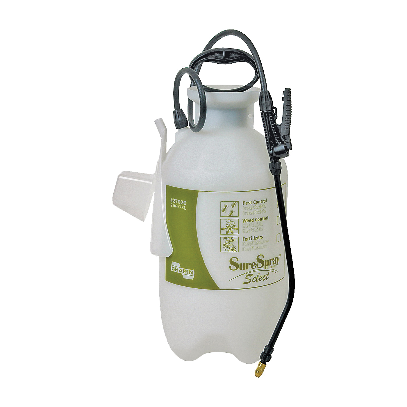 Picture of CHAPIN SureSpray 27020 Compression Sprayer, 2 gal Tank, Poly Tank, 34 in L Hose