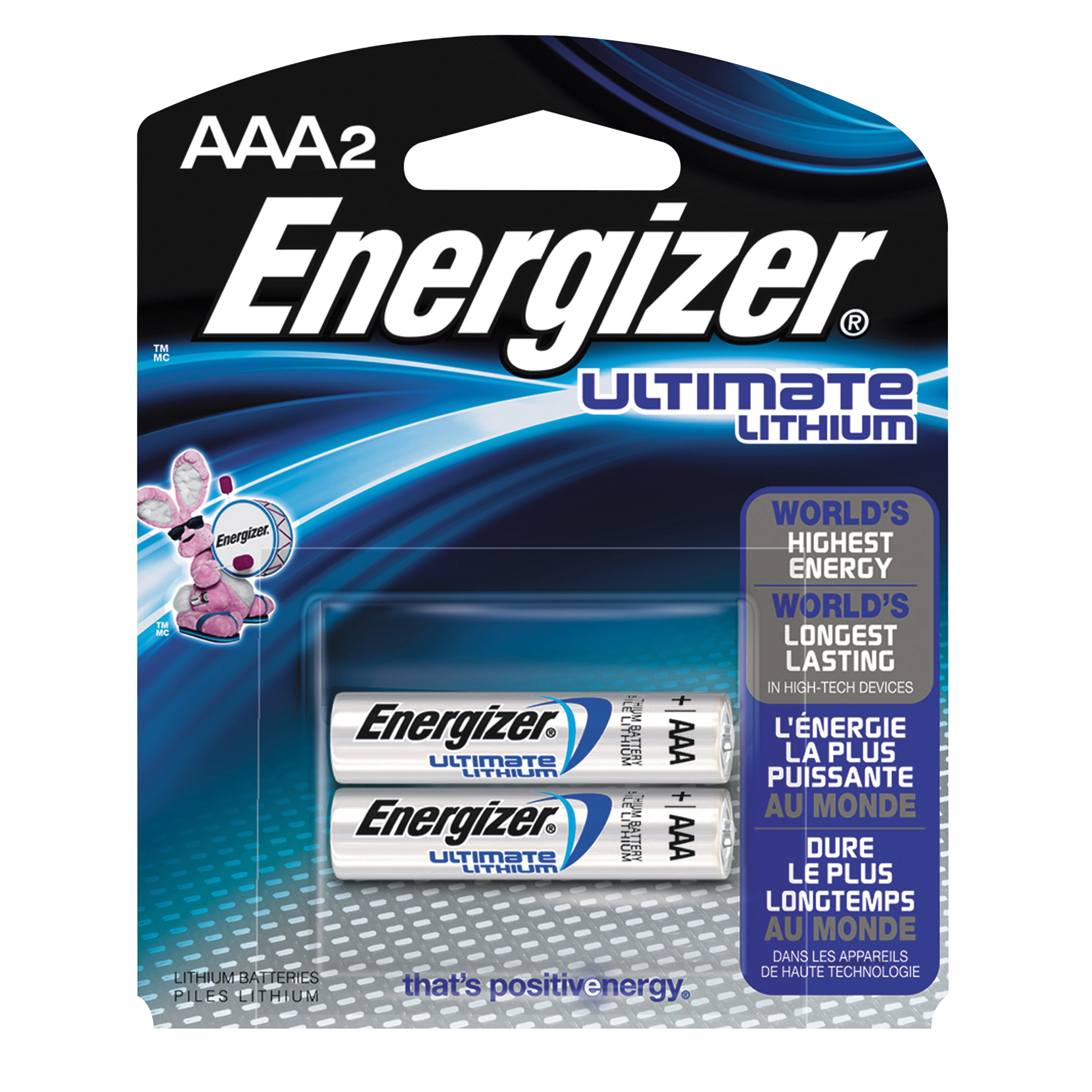 Picture of Energizer L92 Series L92BP-2 Lithium Battery, 1.5 V Battery, 1250 mAh, AAA Battery, Lithium, Iron Disulfide